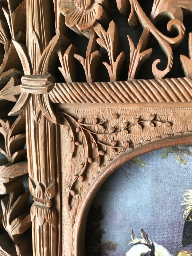 Hand-Crafted Rare Early 1900s Finely Hand Carved Flowers and Animals Sculpture Picture Frame For Sale