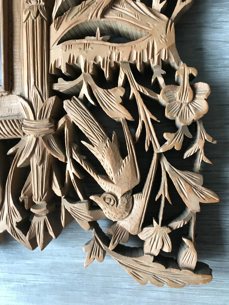 Wood Rare Early 1900s Finely Hand Carved Flowers and Animals Sculpture Picture Frame For Sale