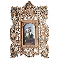 Rare Early 1900s Finely Hand Carved Flowers and Animals Sculpture Picture Frame