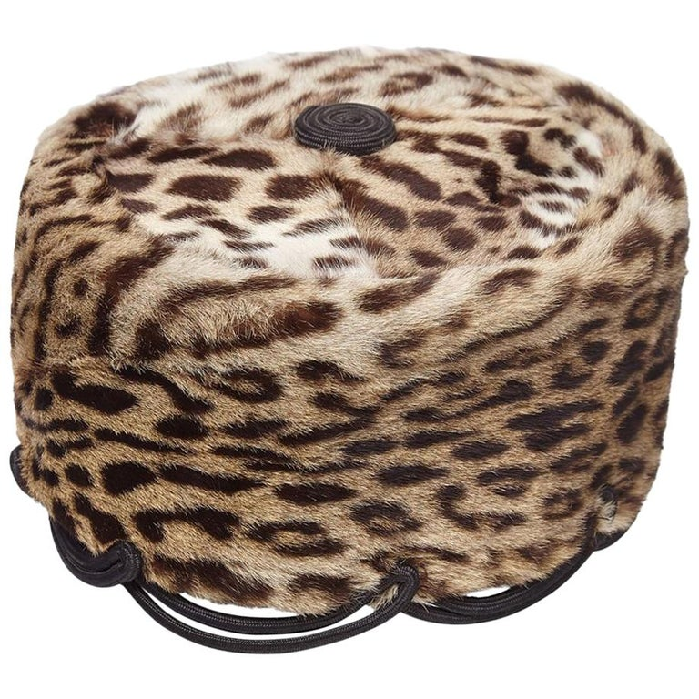 Rare early 1940s Ocelot Fur Pillbox Hat Previously Owned By Jolie Gabor For Sale