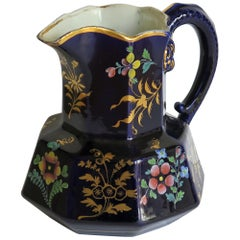 Rare Early 19th Century Ironstone Jug or Pitcher, Zachariah Boyle Hand Enamelled