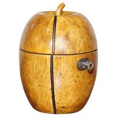 Rare circa 1820 Treen Hand Carved Apple Tea Caddy Original Key