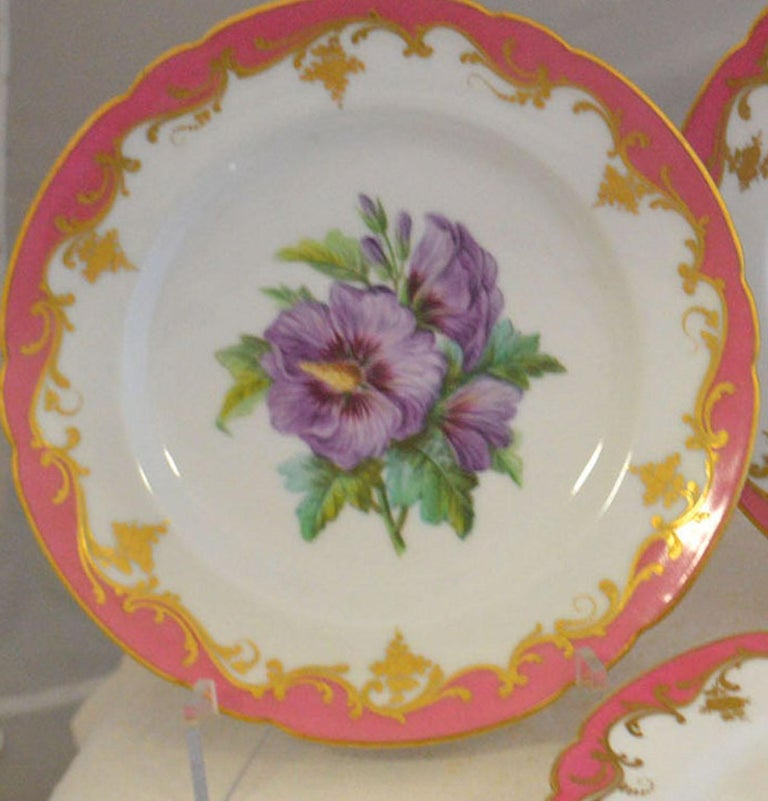 Louis XV Rare Early 19th Century Paris Botanical Pink Porcelain Service for 24 For Sale