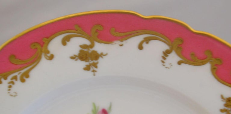 French Rare Early 19th Century Paris Botanical Pink Porcelain Service for 24 For Sale