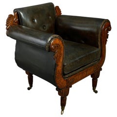 Rare Early 19th Century Regency Burr Yew Bergere Armchair