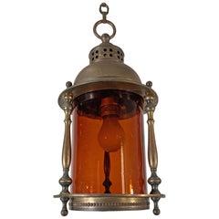 Rare Early 20th Century Brass & Orange Glass Ships Model Lantern Pendant Light