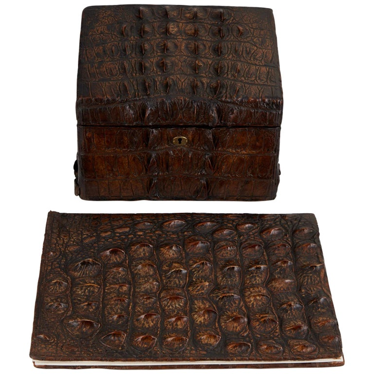 Early 20th Century Crocodile Desk Set by Thornhill & Co London Circa 1910 For Sale
