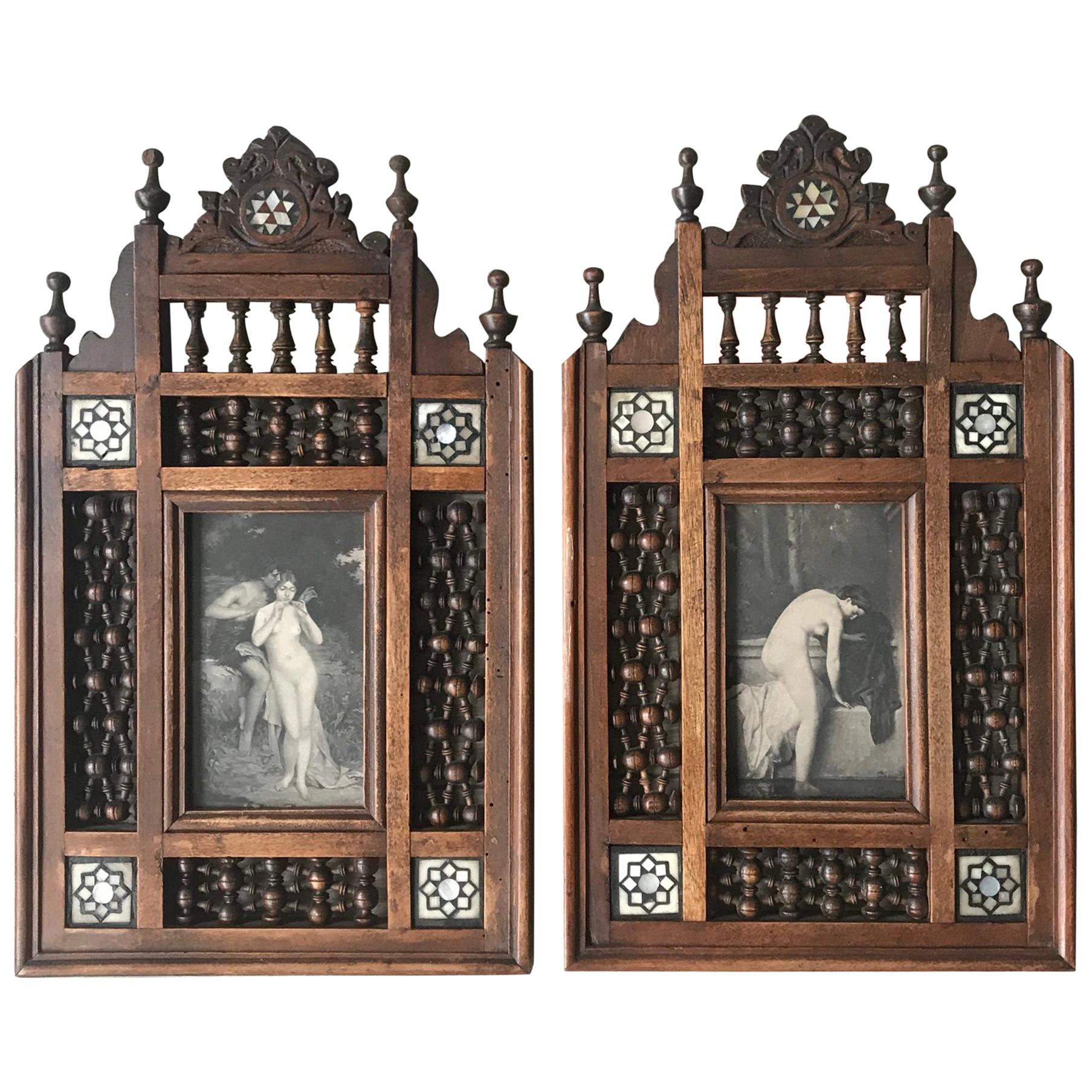Rare c.1900 Handcrafted Pair of Arabic Motifs Parelmoer Inlaid Picture Frames