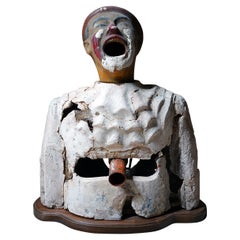 Rare Early 20thC Painted Plaster Laughing Clown Fairground Ball-Toss Game c.1910