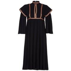 Rare Early Bill Gibb 1970s Renaissance Style Black Pleated Dress