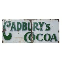 Rare Early Cadbury's Cocoa Enamel Sign