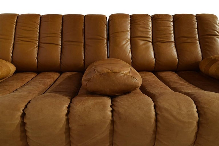 Mid-Century Modern Rare Early Edition De Sede DS 85 Cognac Leather Sofa or Daybed, 1970s For Sale