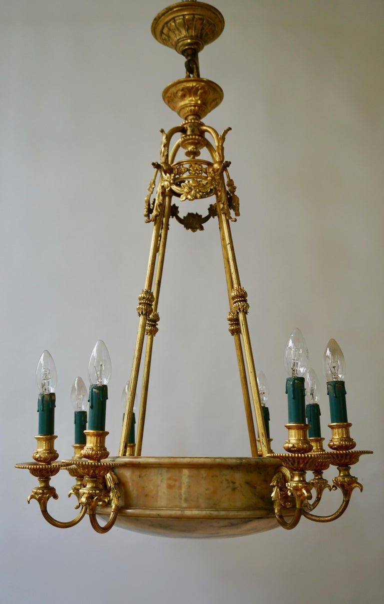 Rare Early French 20th Century Art Deco Bronze and Alabaster Chandelier For Sale 8
