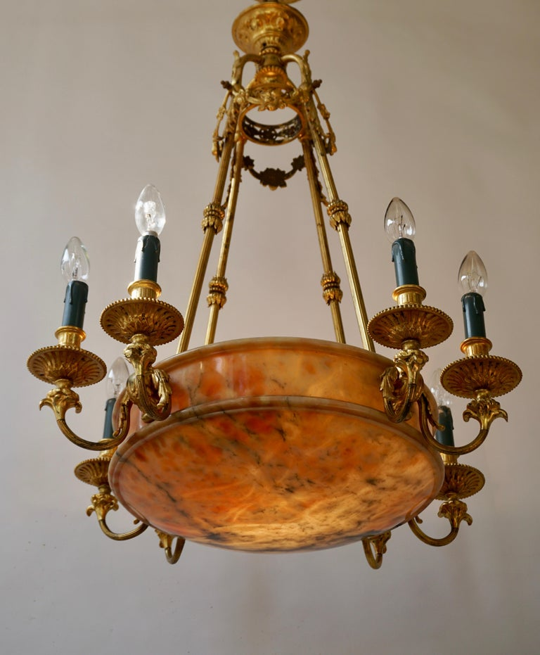 Rare Early French 20th Century Art Deco Bronze and Alabaster Chandelier For Sale 9
