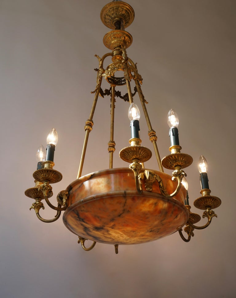 Brass Rare Early French 20th Century Art Deco Bronze and Alabaster Chandelier For Sale