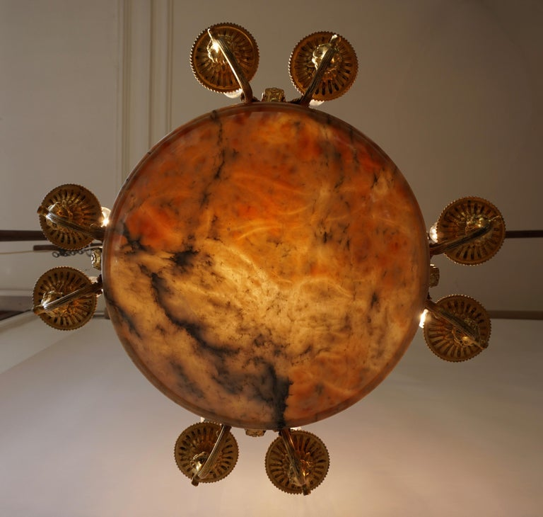 Rare Early French 20th Century Art Deco Bronze and Alabaster Chandelier For Sale 1