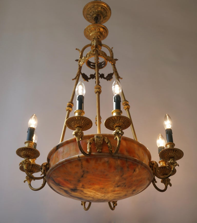 Rare Early French 20th Century Art Deco Bronze and Alabaster Chandelier For Sale 2