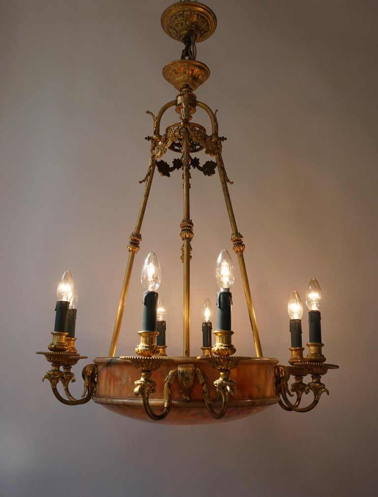 Rare Early French 20th Century Art Deco Bronze and Alabaster Chandelier For Sale 3