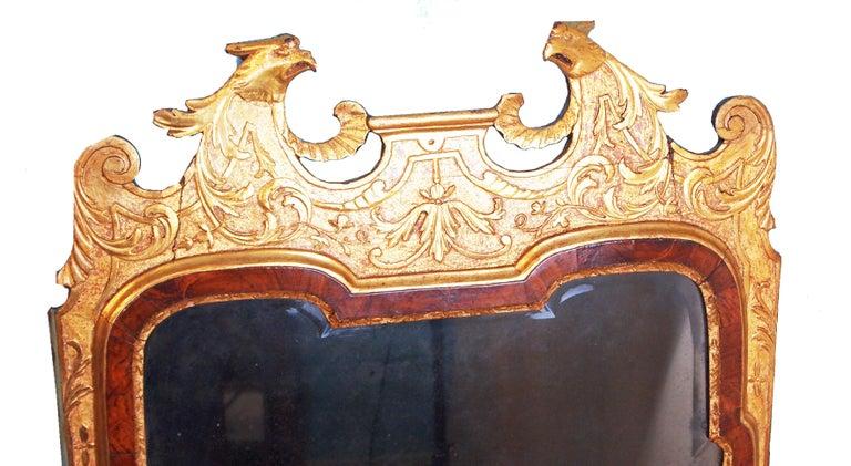 English Rare Early Georgian 18th Century Walnut and Gilt Pier Mirror For Sale