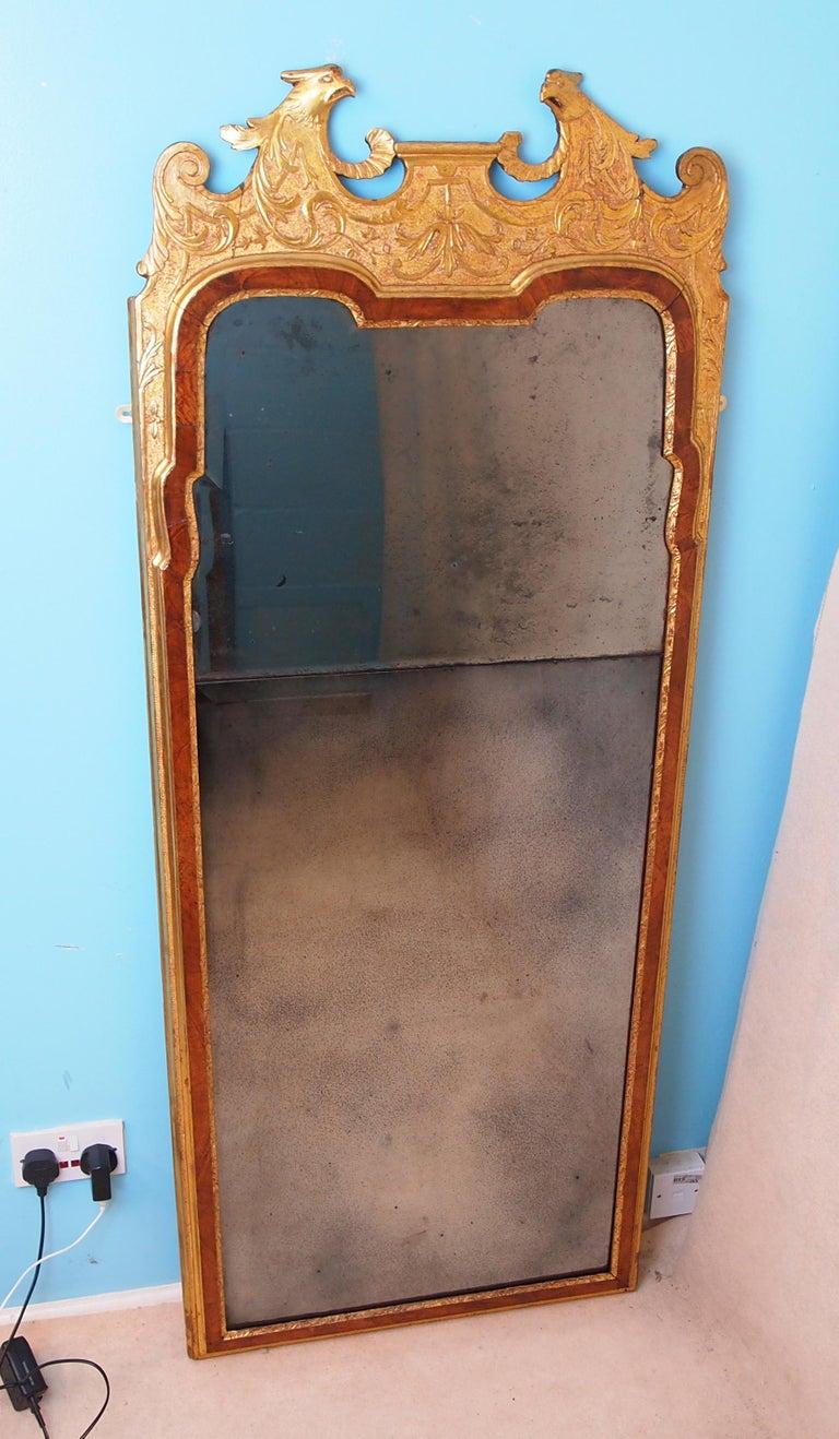 Rare Early Georgian 18th Century Walnut and Gilt Pier Mirror For Sale 1