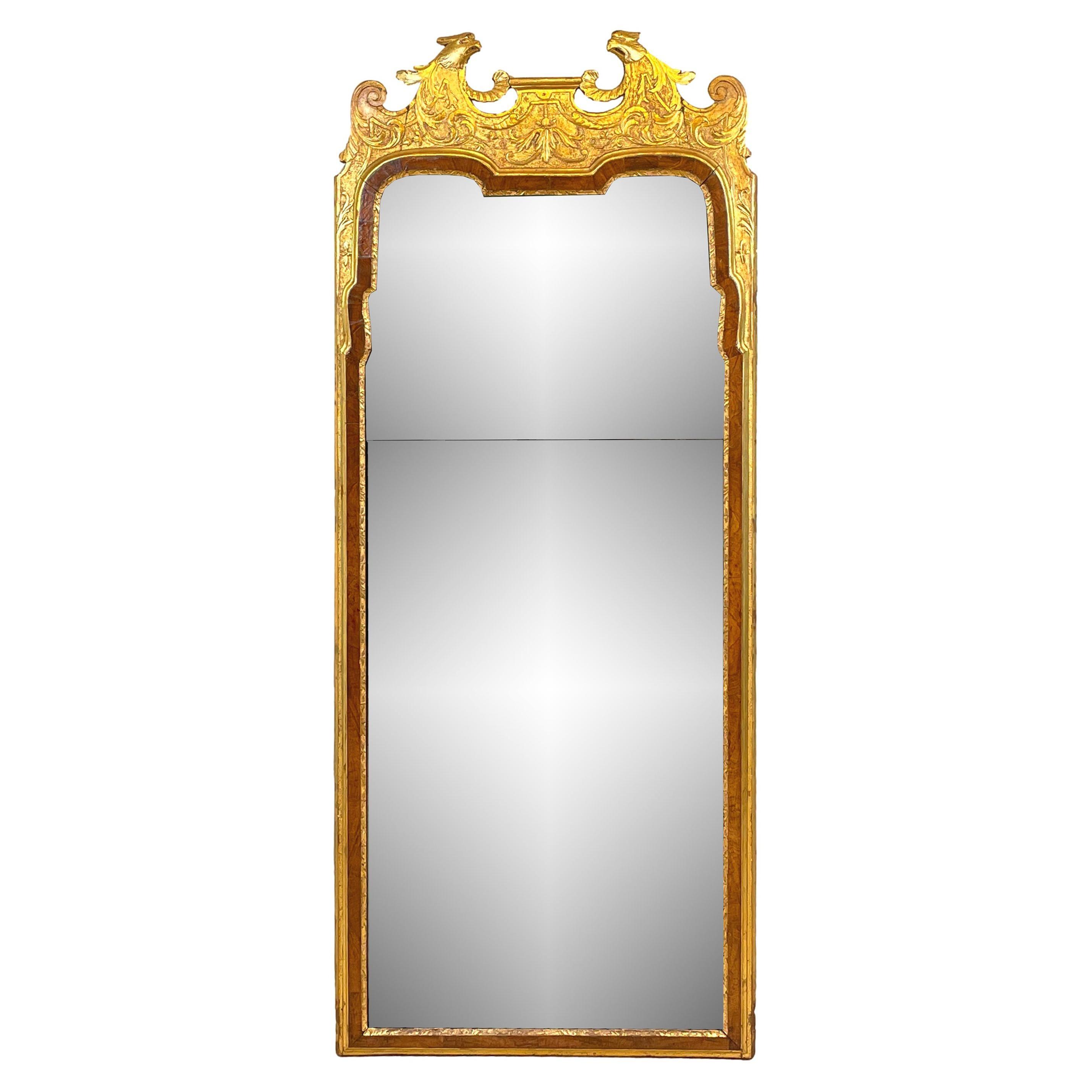 Rare Early Georgian 18th Century Walnut & Gilt Pier Mirror
