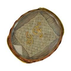 Rare Early Georgian Stuart Crystal 18 Carat Gold Slider with Hair & Initials JF