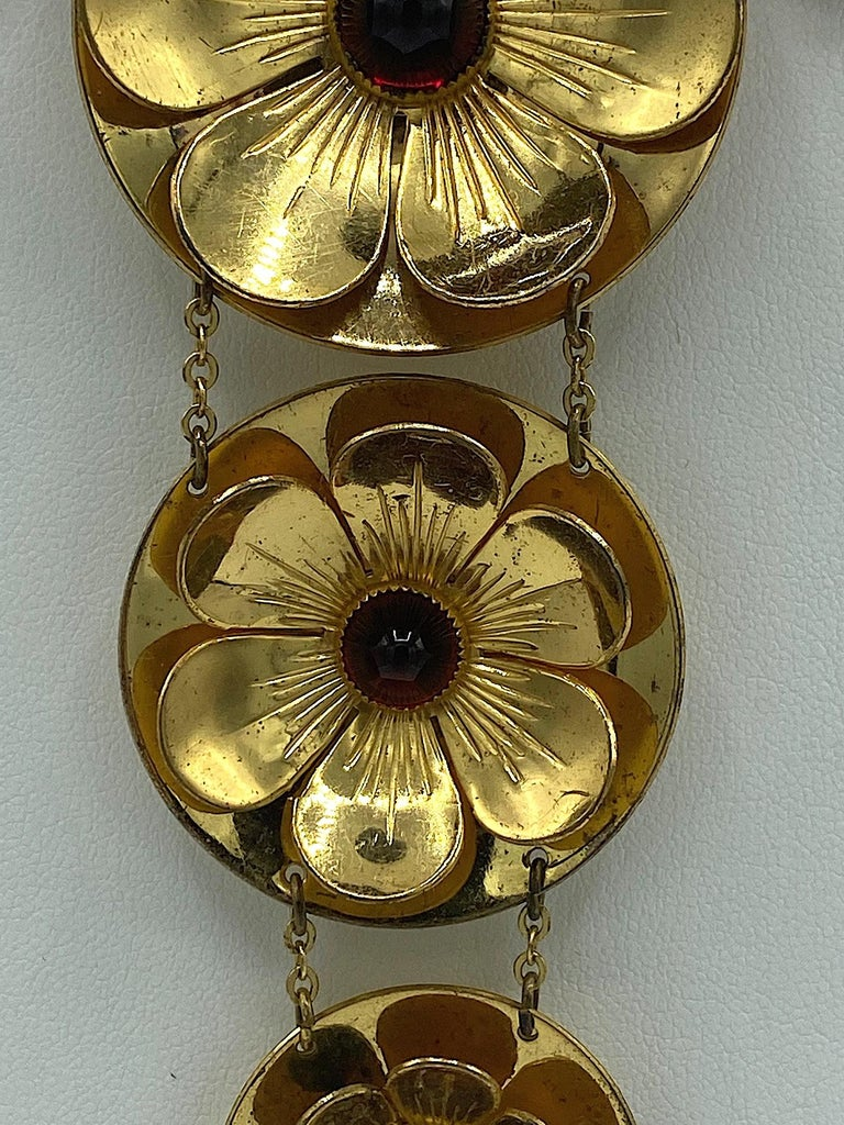 Rare Early Monet Jewelers 1930s Flower Pendant Necklace For Sale 2