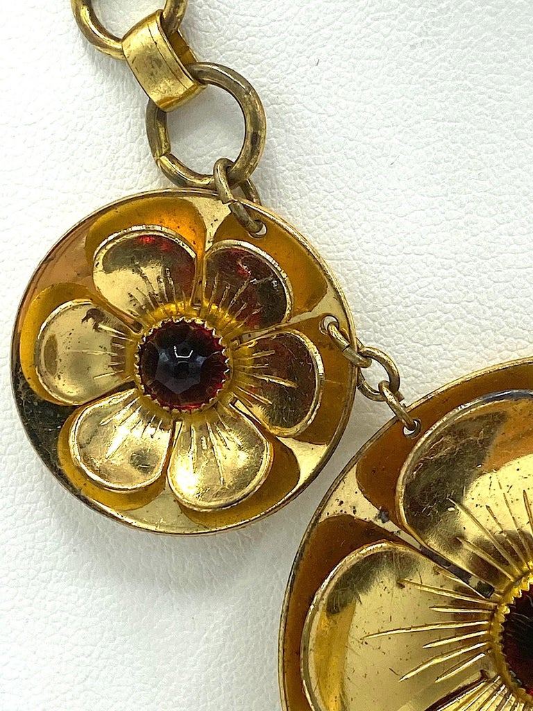 Rare Early Monet Jewelers 1930s Flower Pendant Necklace For Sale 4