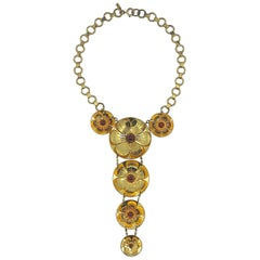 Rare Early Monet Jewelers 1930s Flower Pendant Necklace
