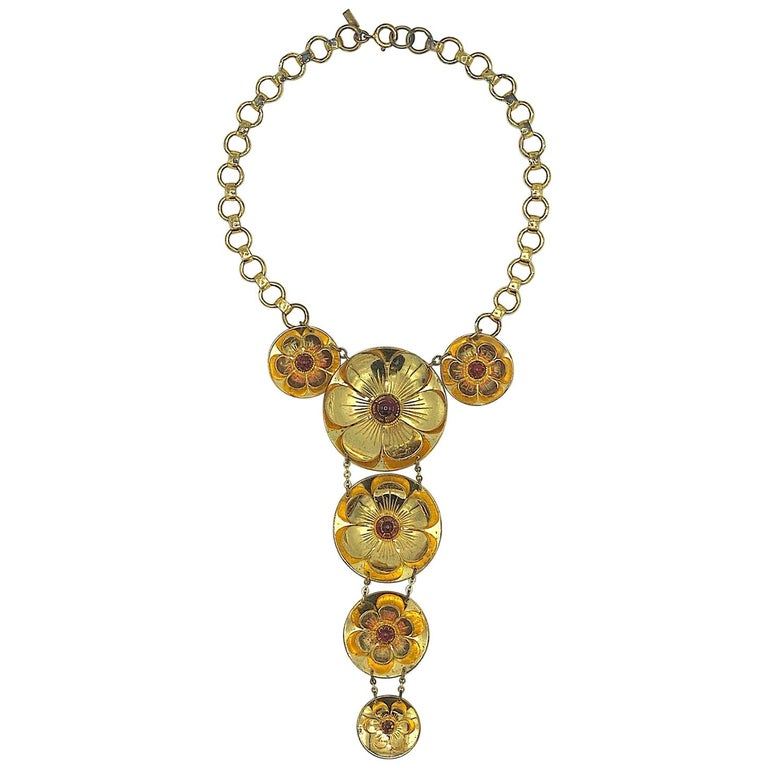 Rare Early Monet Jewelers 1930s Flower Pendant Necklace For Sale