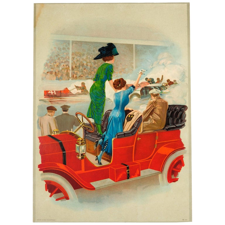 Rare Early Original Antique Car Racing Poster (Possibly the Minneapolis Races) For Sale