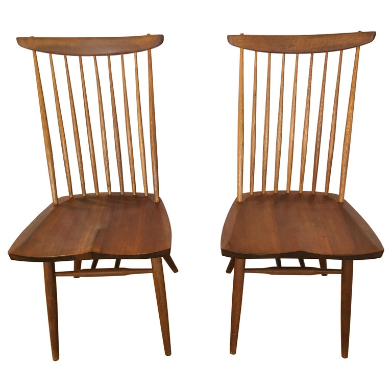 """Rare Early Pair of George Nakashima """"New Chairs"""" For Sale"""