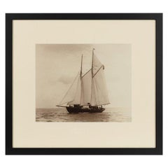 Rare Early Photographic Print of the Schooner Cacouna Tack in the Solent