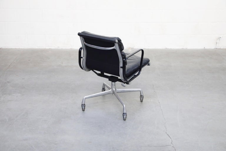 Aluminum Rare Early Production Eames Soft Pad Chair by Herman Miller, Signed & Dated 1976 For Sale