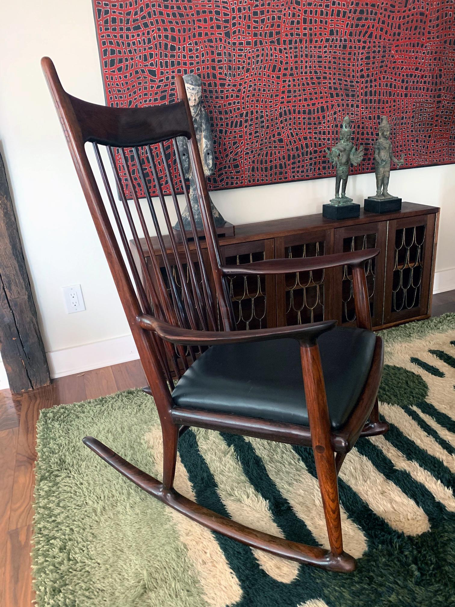 Strange Rare Early Rosewood Rocking Chair By Sam Maloof Spiritservingveterans Wood Chair Design Ideas Spiritservingveteransorg