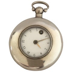 Rare Early Verge Fusee London Maker Half Hunter Silver Pocket Watch
