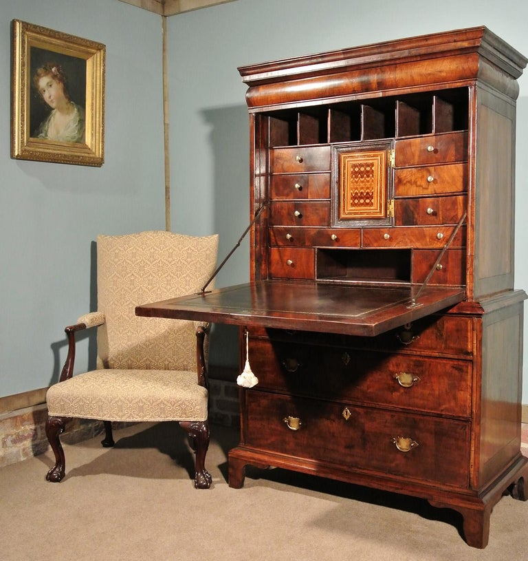 A very rare walnut scriptor of small proportions and with a most attractive figuring and colour.