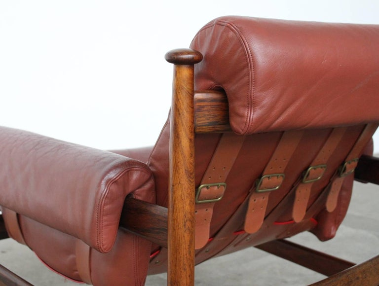Leather Rare Easy Chair Model Amiral Designed by Eric Merthen for Ire Mobler, Sweden For Sale