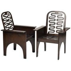 Rare Ebonized Mahogany Chairs by Gerald McCabe + Gregg Fleishman