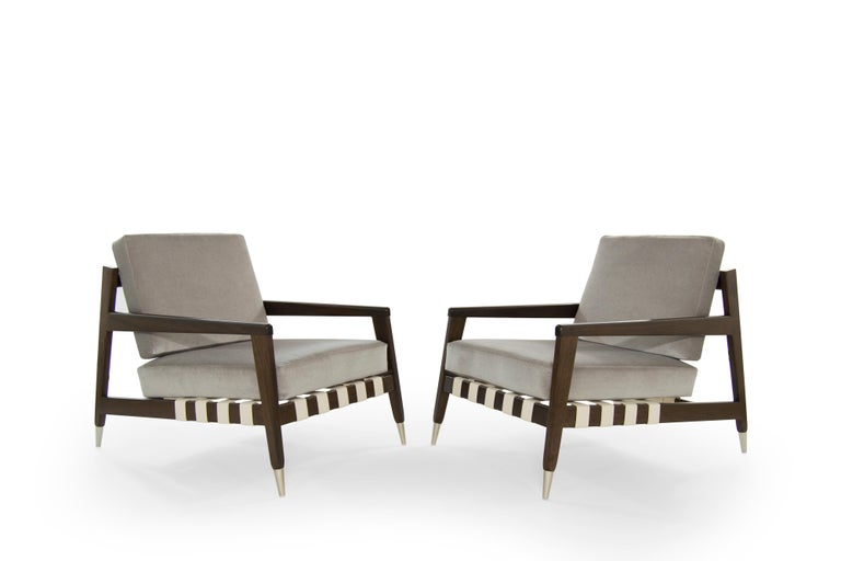 Mid-Century Modern Rare Edmond Spence Strapped Lounge Chairs, 1950s For Sale
