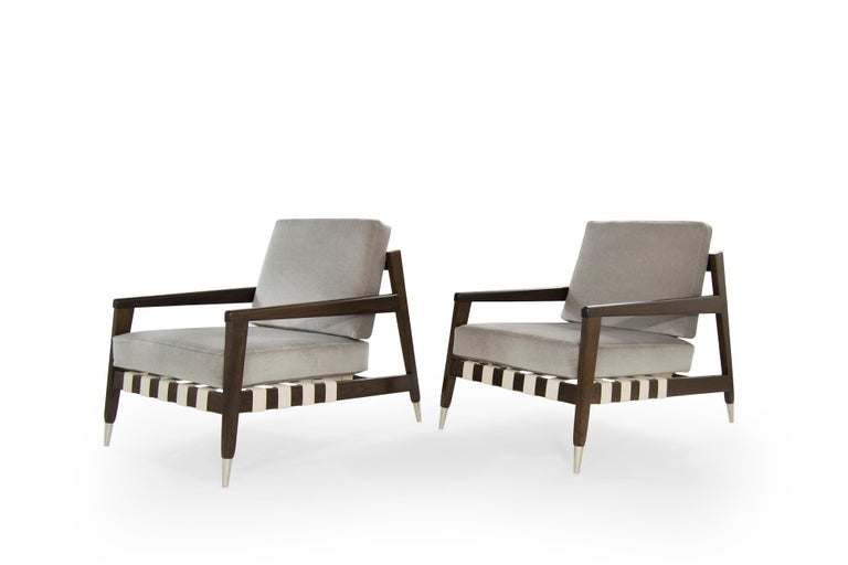 American Rare Edmond Spence Strapped Lounge Chairs, 1950s For Sale