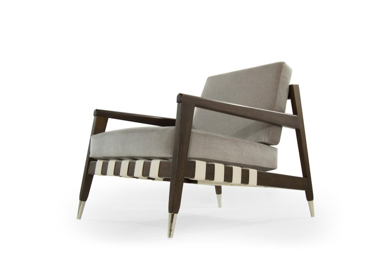 Mohair Rare Edmond Spence Strapped Lounge Chairs, 1950s For Sale