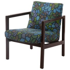 Rare Edward Wormley Mahogany & Brass and Blue Floral Upholstered Armchair