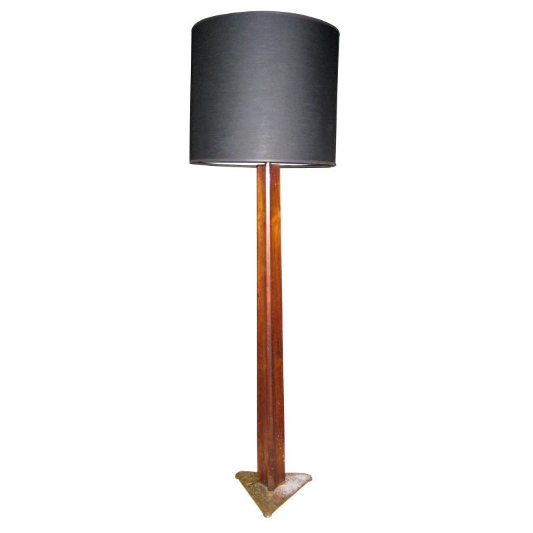 Rare Edward Wormley Rosewood and Brass Floor Lamp for Hansen For Sale 1