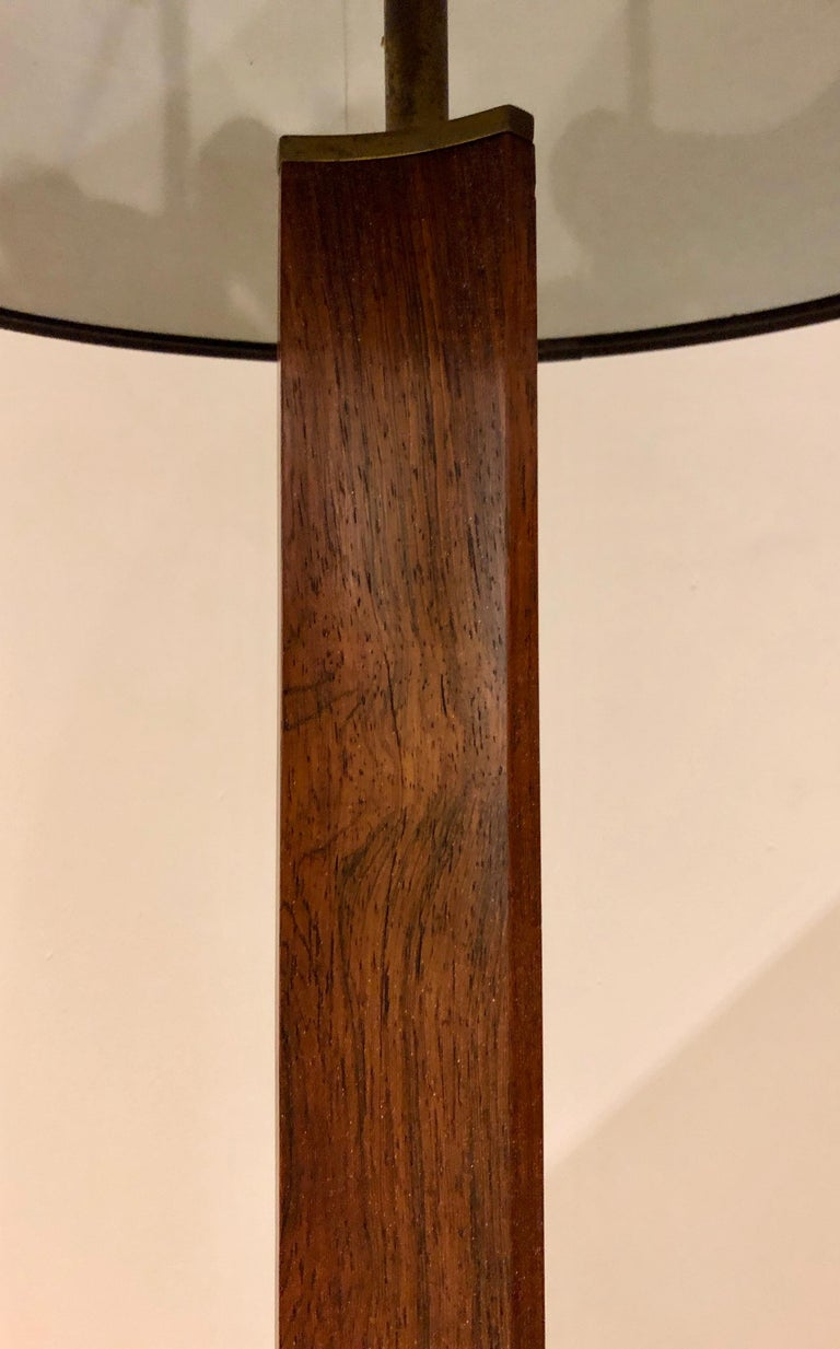 Rare Edward Wormley Rosewood and Brass Floor Lamp for Hansen For Sale 3