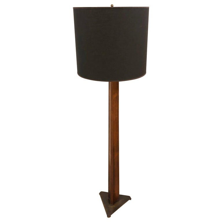 Rare Edward Wormley Rosewood and Brass Floor Lamp for Hansen For Sale