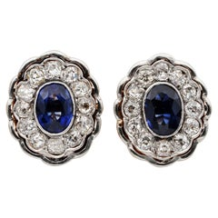 Rare Edwardian 2.60 Carat Natural Ceylon Sapphire 3.0 Ct Old Diamond Ear Rings