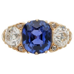 Rare Edwardian 3.48 Ct NO Heat Ceylon Sapphire 2.25 Ct Diamond Plus Trilogy Ring