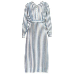 Edwardian Blue & White Striped Organic Cotton Lightweight Long Sleeve Dress Wit