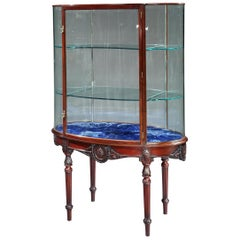 Rare Edwardian Oval Mahogany Display Cabinet in the Adam Manner by F. Sage & Co